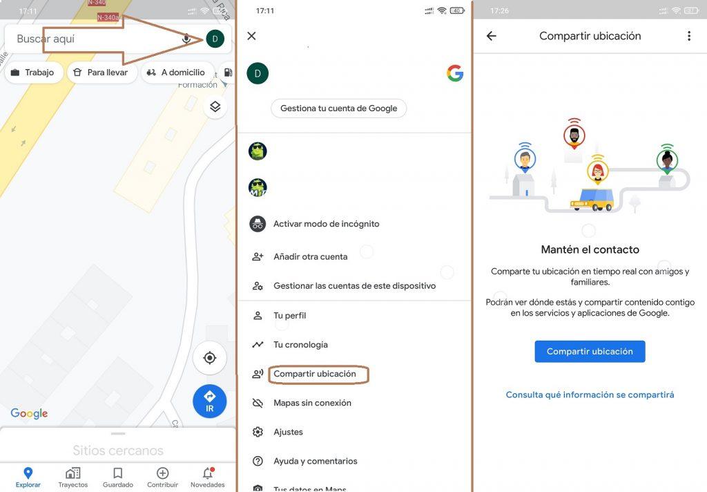google maps opciones ubicación