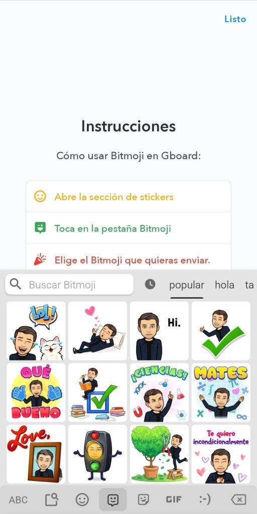 bitmoji enviar por whatsapp