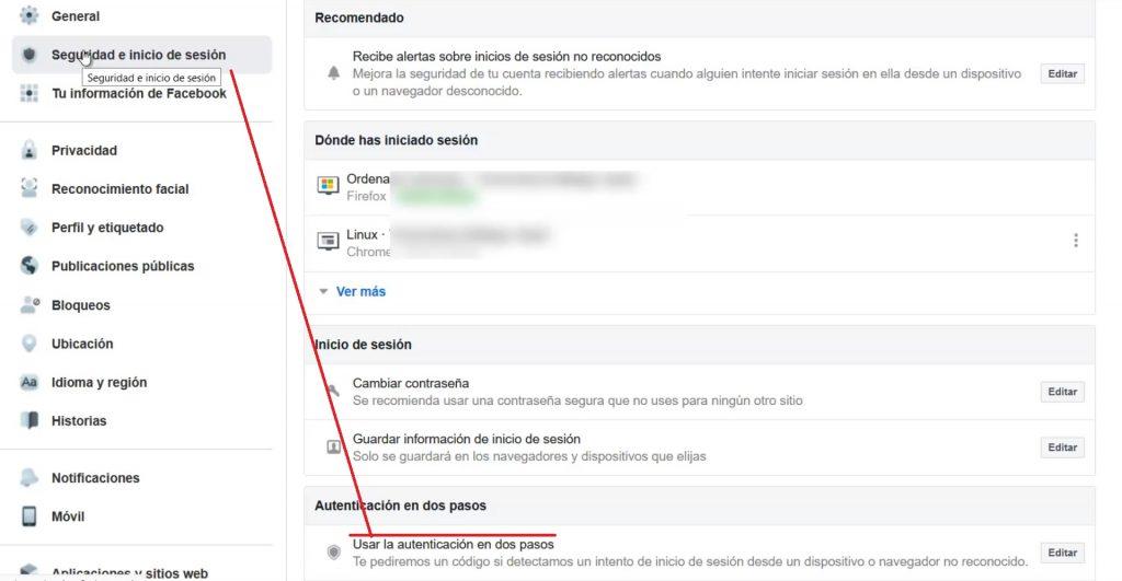 opciones de seguridad facebook
