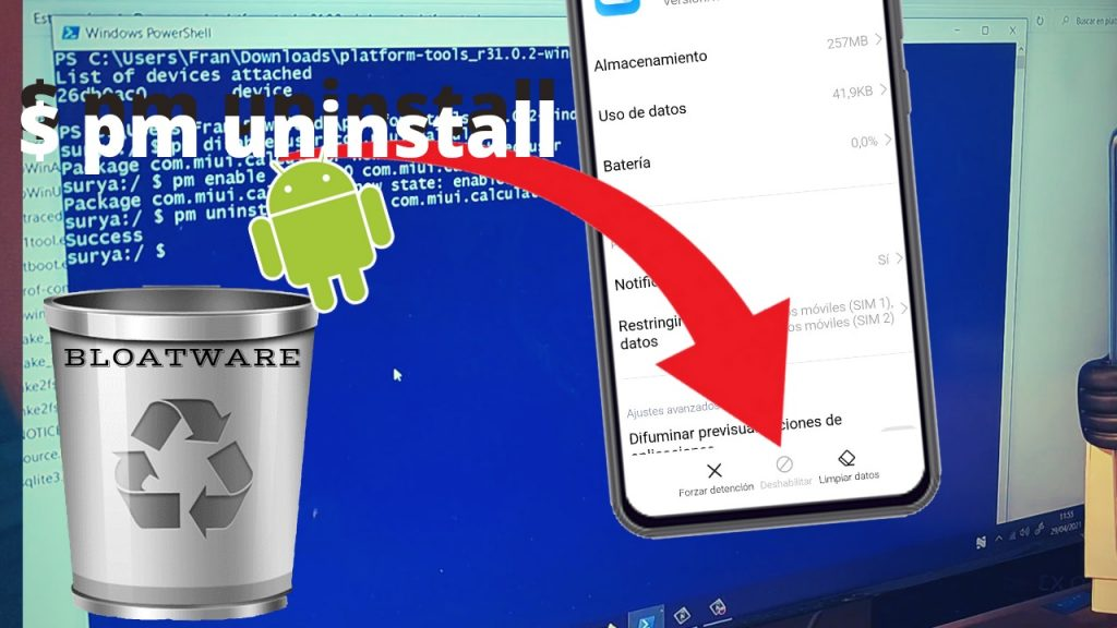 desinstalar apps por adb