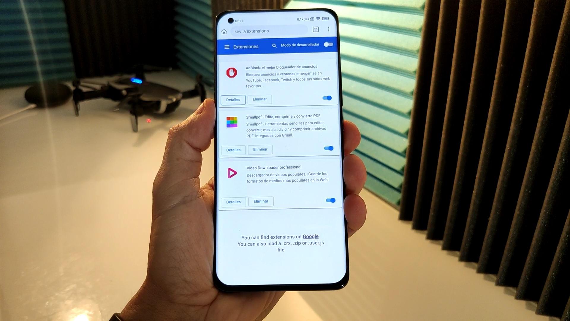 extensiones de google en android